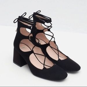 Zara Trafaluc Suede Lace Up Heels